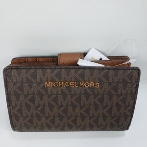 Michael kors Brown leather wallet MK Signature